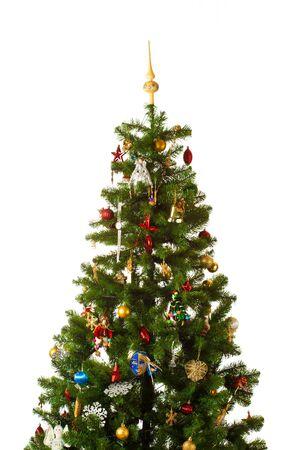 moltitudine: Albero di Natale-con la moltitudine di decorazioni isolata on white