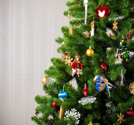 part of decorated Christmas tree photo