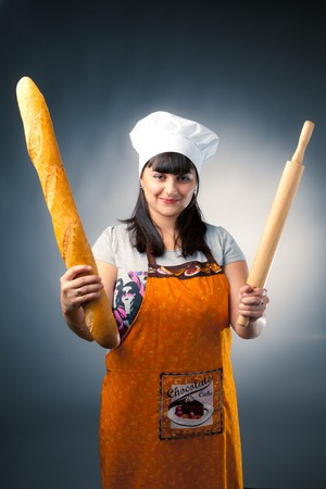 rollingpin: woman cook with bread and rolling-pin