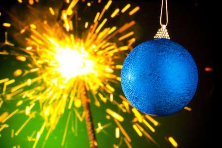 Christmas decoration on sparklers background photo