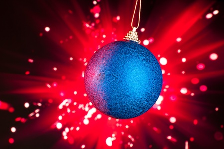 Christmas decoration with fireworks background photo