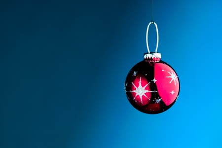 Christmas decoration against blue background photo