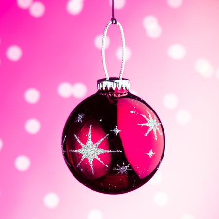 Christmas decoration against pink bokeh background Stock Photo - 8316953