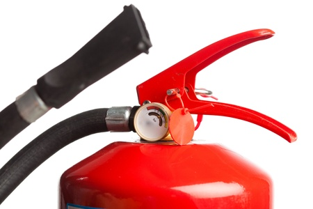 part of fire extinguisher isolated on white Stock Photo - 8630491