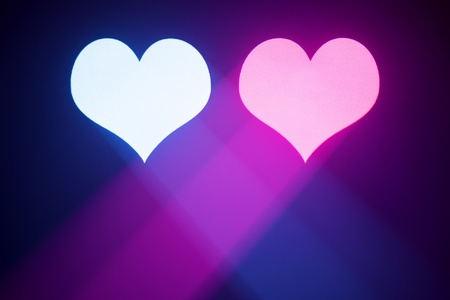 blue and purple valentine hearts projected in the smoke Stock Photo - 8689557