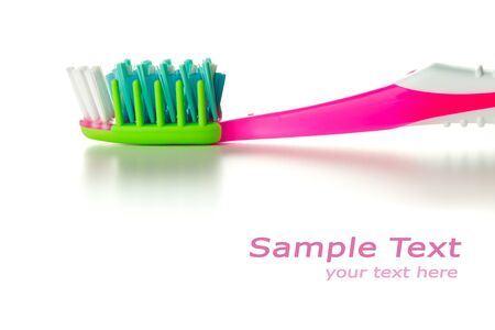room for your text: toothbrush, macro view with room for your text Stock Photo