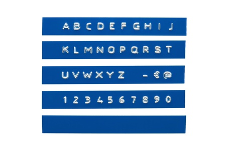 embossed: Embossed alphabet on blue plastic tape