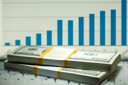 dollar rolls and financial activity diagram Stock Photo - 8835648