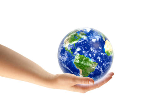 hand holding planet Earth
