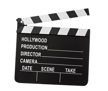 take action: clapper board isolated on white