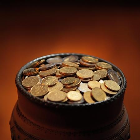 pot of golden coins photo