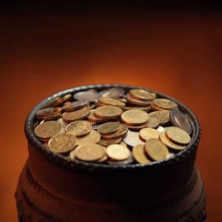 pot of golden coins photo