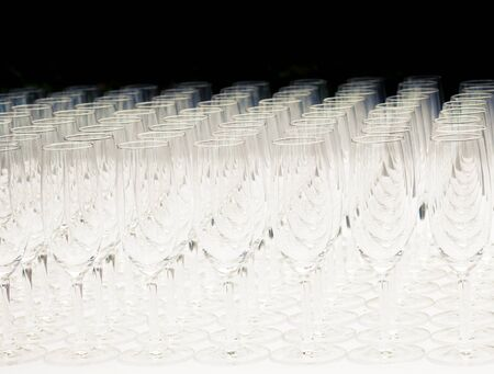 multitude: Multitude of empty champagne glasses or flutes