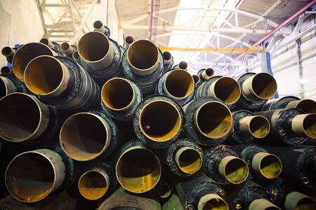 insulate: old rusty pipes Stock Photo