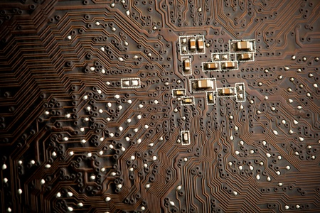 printed circuit board, closeup photo