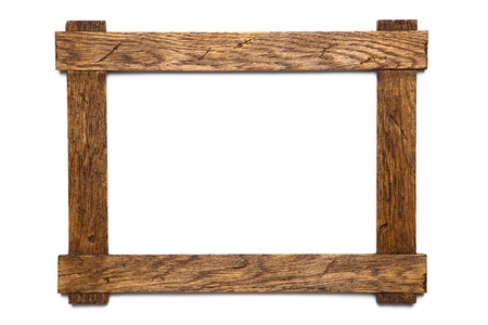 picture frame on wall: empty wooden photo frame isolated on white Stock Photo