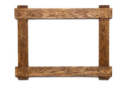 marco madera: marco vac�o de fotos de madera aislado en blanco