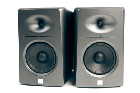 highend: studio audio monitors - high-end sound speakers, isolated on white Stock Photo