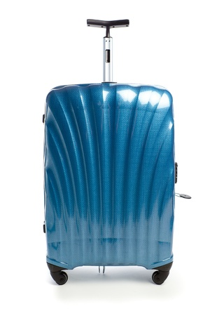 blue modern travel suitcase isolated on white Фото со стока
