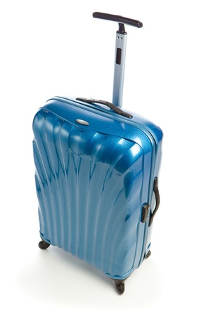 blue modern travel case isolated on white photo