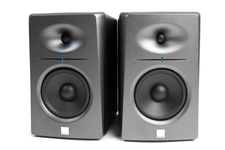 speakers: studio audio monitors - high-end sound speakers, isolated on white Stock Photo