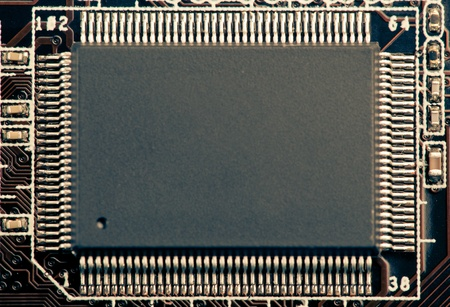 microchip or microcircuit chip with copy-space, macro photo