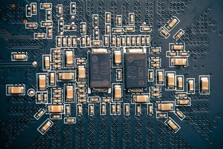 printed circuit board: carte de circuit imprim�, vue macro