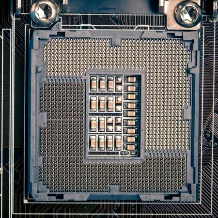 cpu processor socket pins on motherboard, macro view Stock Photo - 12339155