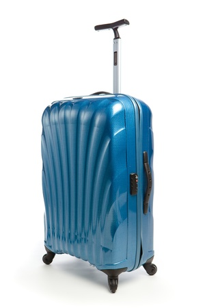 blue modern travel suitcase isolated on white photo