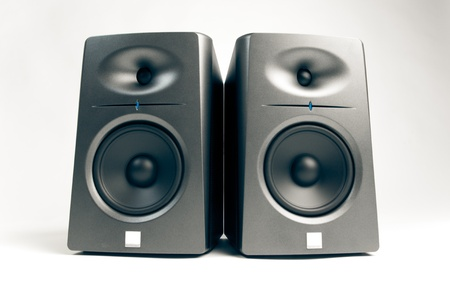 sound system: studio audio monitors - high-end sound speakers, isolated on white Stock Photo