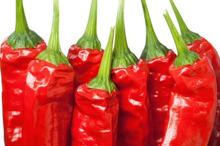 macro of group of chili peppers Stock Photo