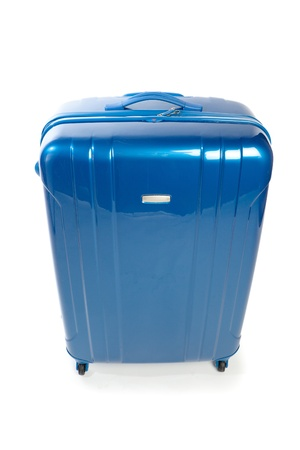 suit case: blue modern travel suitcase isolated on white Stock Photo