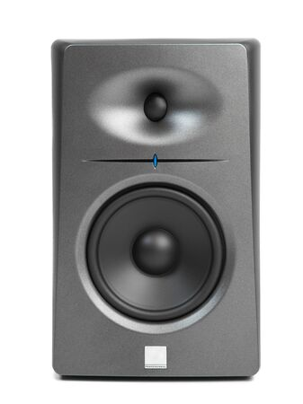 home audio: studio audio monitors - high-end sound speakers, isolated on white Stock Photo