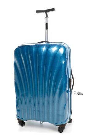 blue modern travel suitcase isolated on white photo