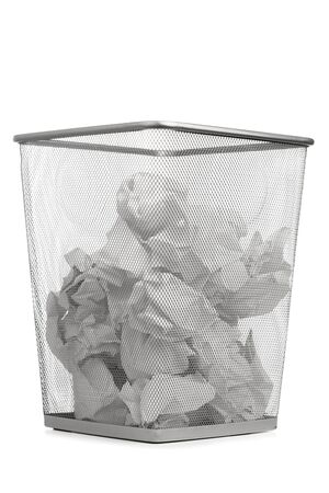 Office Trash Can With Crumpled Paper, Isolated On White Photo