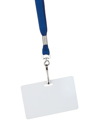 blank badge on blue cord isolated on white