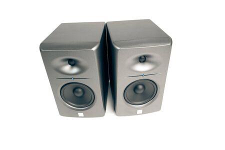 highend: monitor audio da studio - di fascia alta altoparlanti, isolato su bianco Archivio Fotografico
