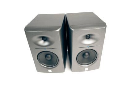 studio audio monitors - high-end sound speakers, isolated on white photo