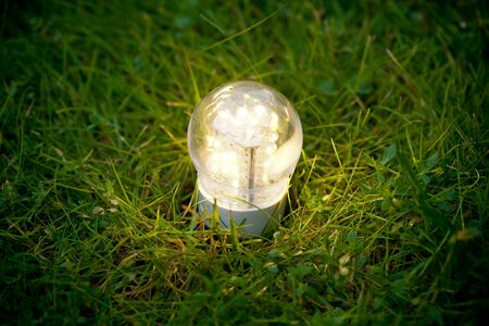 led lamp on the green grass photo