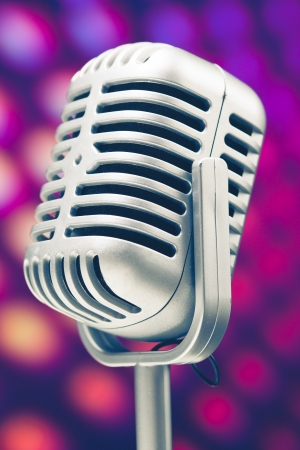 microphone retro on purple disco background Stock Photo - 14587801