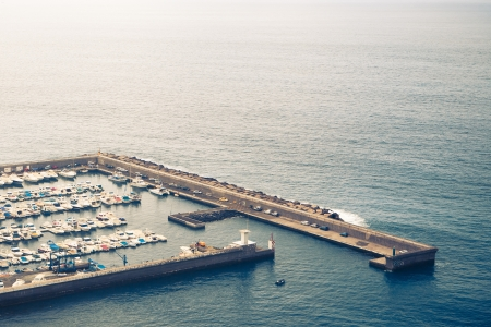 parking space: Boats mooring, flight view with copy-space