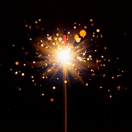 kıvılcım: parlak parlama ile yılbaşı sparkler Stok Fotoğraf
