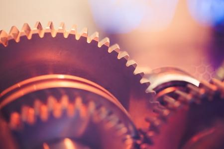 industrial mechanics: ruedas dentadas primer plano Foto de archivo