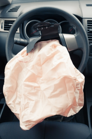 accident damage: Airbag explodes on steering wheel
