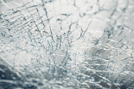 auto glass: broken window of an car Stock Photo