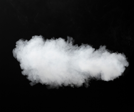 steam jet: white smoke cloud background on black Stock Photo