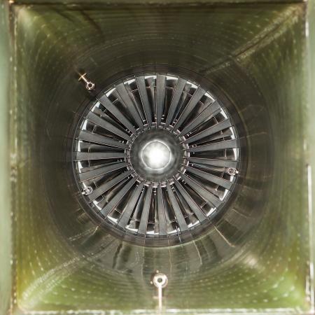 turbojet: inside of air intake tube of jet fighter engine