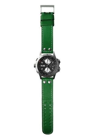 wristwatch with green wristlet isolated on white Фото со стока