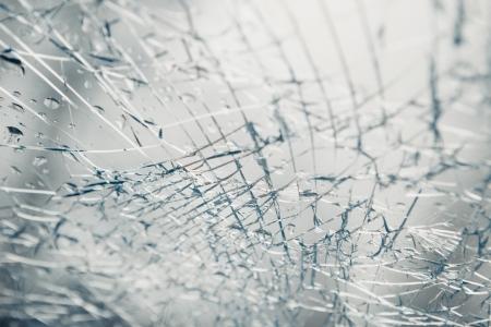 auto glass: broken window after car crash accident