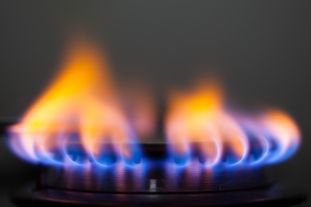 estufa: llama de gas Foto de archivo